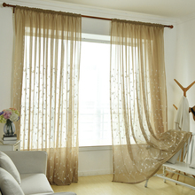 Embroidered Tulle Window Curtains For Living Room Bedroom Kitchen Modern Floral Sheer Curtains Window Drapes Fabric 1 pair of sheer window tulle fabric curtains