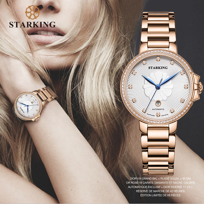 STARKING Luxury Jewelry Women Watches Sapphire Waterproof 5ATM Japan Miyota Movt Automatic Mechanical Wristwatches AL0267|Women's Watches| - AliExpress