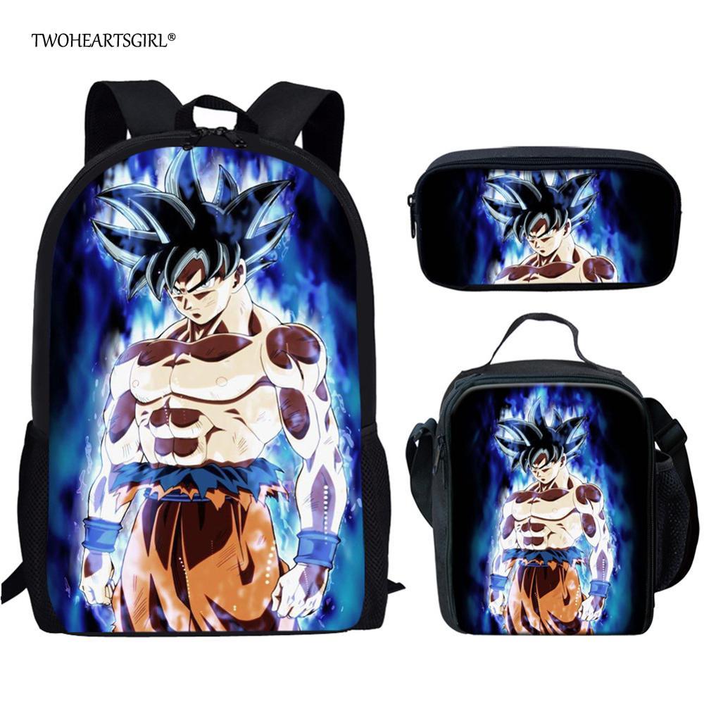 Twoheartsgirl Dragon Ball Z Super Broly School Bags Cool Boys Girls Anime DBZ Ultra Instinct Goku School Backpack Kids Schoolbag