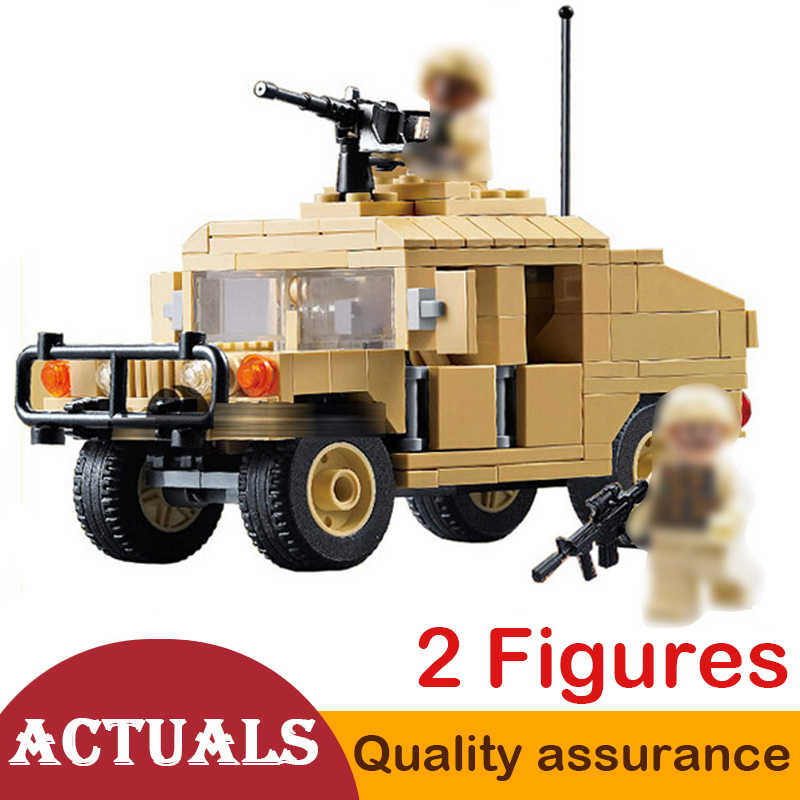 DECOOL 2111 Modern War M1025 HUMVEE Armament Carrier Vehicle Building Blocks Model Military Car Toy Technic  Compatible