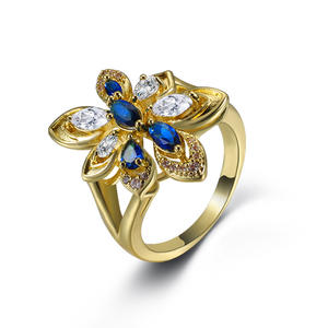Ladies Ring Jewelry Charm Flower-Shaped Color-Zircon Personality Fashion Send Girlfriend