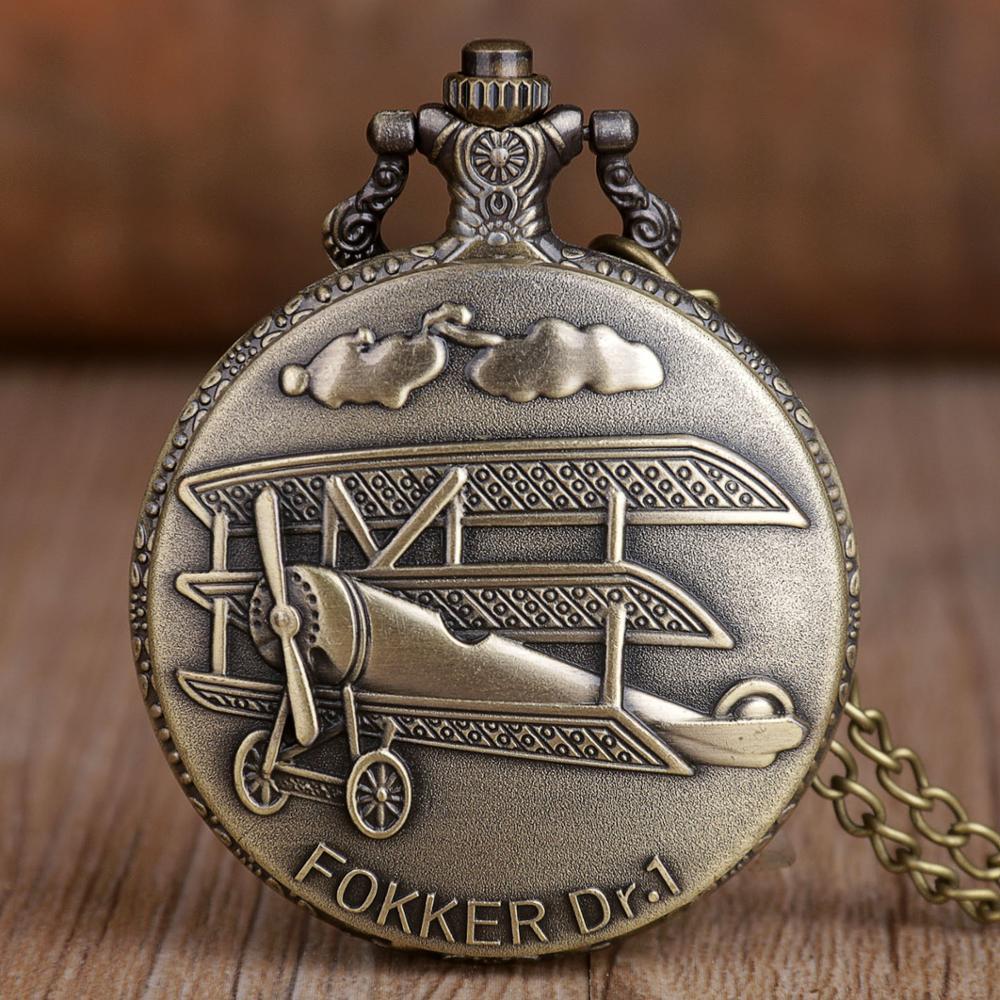 2019 Retro Bronze Pocket Watch Fokker Dr.1 Sculpture 3D Aircraft Pattern Quartz Pocket Watch Necklace Chain Pendant Mens Womens