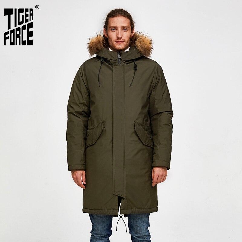 Tiger Force Oversize Men Winter Parkas Business Casual Men Medium-long Overcoat Men's Hooded Thick  Coat Big Pocket Male Jacket
