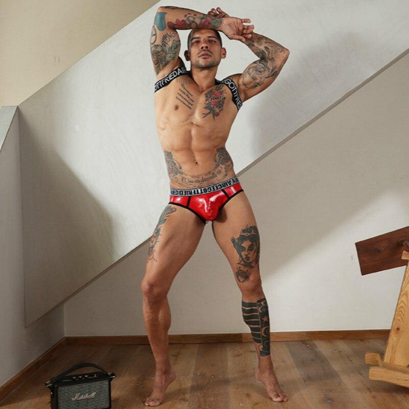 Mens Underwear Sexy Men Briefs Sexy Men's Faux Leather Underwear Men's Underpants Exotic Breathable Seamless Underwear