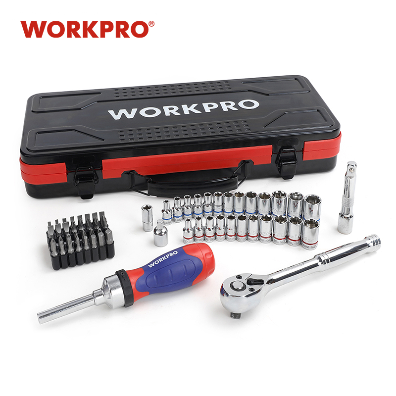 "WORKPRO 62PC Metal Box Tool Set Car Repair Tool Kits Home Tools 1/4"" 3/8"" Dr. Sokcet Set Ratchet Torque Wrench(China)"
