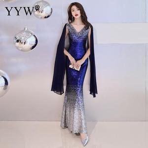 Image 5 - Luxury Gradient Sequined Mermaid Dress Sexy V Neck Prom Dress Women Fashion Formal Party Gowns Zipper Back Trumpet Evening Dress
