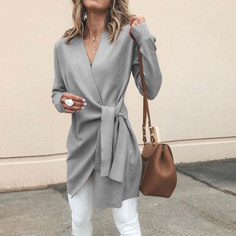 2020 Autumn Winter New Women's Solid Color Jacket Fine Wool V-neck Belt Long Sleeve Casual Coat Slim Office Suit Top Overcoat
