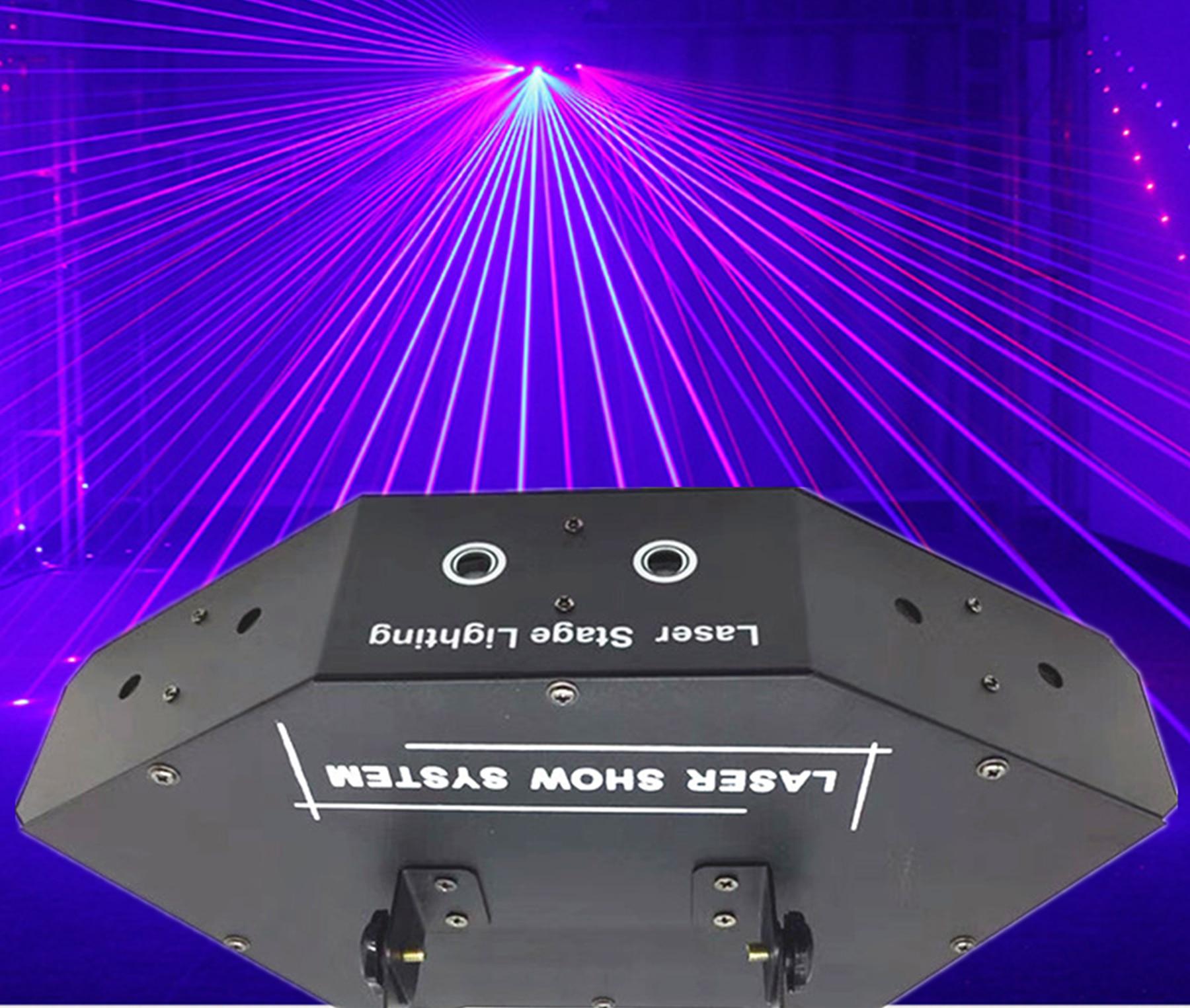 Niugul Scan Stage Laser Light RGB Full Color Six- Eye Beam Laser Club DJ Disco Laser Lights Projector DMX512 Scan Laser Lighting