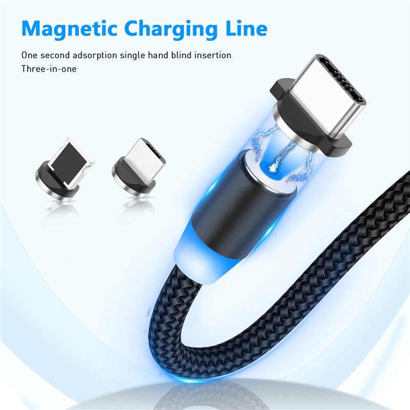 2m manyetik kablo mikro USB tip C kablo iPhone için 11 7 Samsung s9 hızlı şarj manyetik şarj USB kablo cep telefonu kablosu