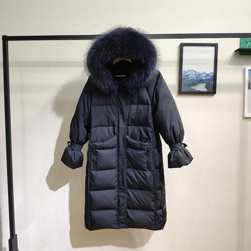 Winter Coat Women Clothes 2019 Korean Warm Duck Down Jacket + Natural Raccoon Fur Hooded Women's Down Jacket Hiver LW1599