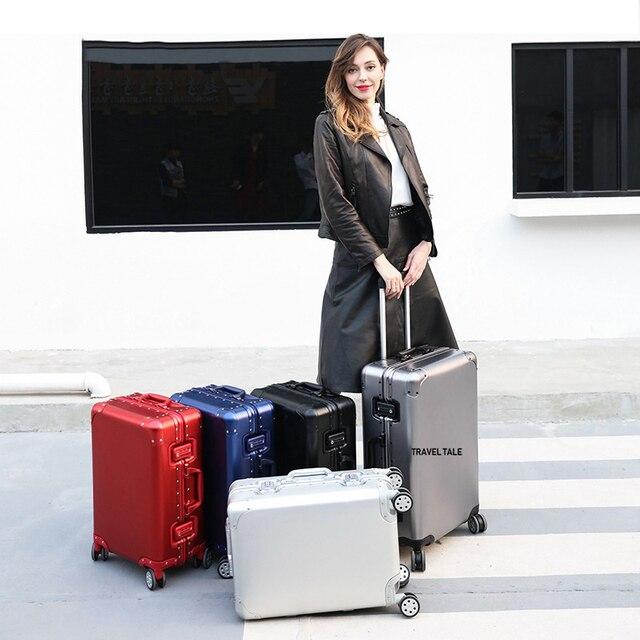 """CARRYLOVE 20 """"24"""" 26 """"29 pollici spinner di alluminio di viaggio valigia di lusso di marca trolley cabina bagagli su ruote"""