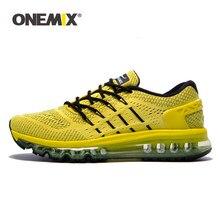 ONEMIX – chaussures de course respirantes à coussin d'air pour hommes, baskets jaunes de Sport en plein Air, de marche et d'athlétisme
