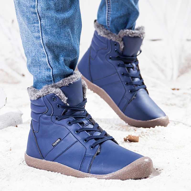 Men Boots Fashion Winter Boots Waterproof Men Shoes Plush Warm Snow Boots Men Ankle Boots Men's Winter Shoes Plus Size 48