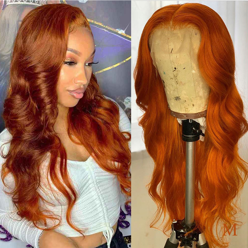 Wicca Orange Colored Human Hair Wigs 360 Lace Frontal Pre Plucked With Baby Hair 13x6 180 Density Lace Front Human Hair Wigs