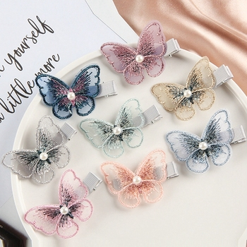 2020 Sweet Chiffon Butterfly Hair Clip For Women Elegant Simulated Pearl Girl Hairpin Fashion Barrette Girls Hair Accessories 1pcs girls pearl hair clip fashion candy color hairclip barrette stick women hair pins bobby hair accessories elegant hairpin