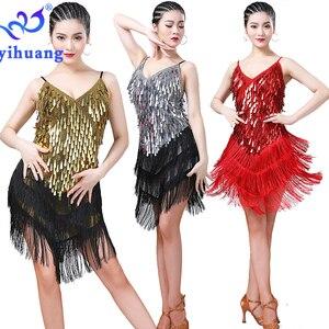 Image 4 - Robe de danse latine pour femmes, en sequins, robe à franges années 1920, robe à rabat, pour fête, tenue fantaisie, pour compétition de danse