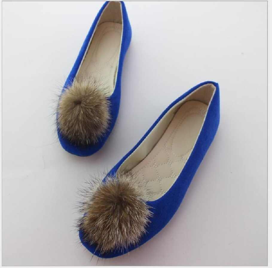 Artı Boyutu Kadın Ayakkabı 2019 Kürk üzerinde Kayma düz ayakkabı sivri burun Sığ tek ayakkabı Kadın Mokasen