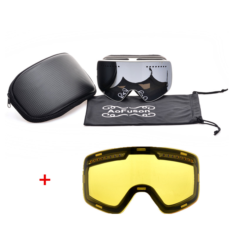 New Brand Professional Magnet Ski Snowboard Googles Double Anti-fog Big Night Vision Lens Mask Skiing Glasses Goggles