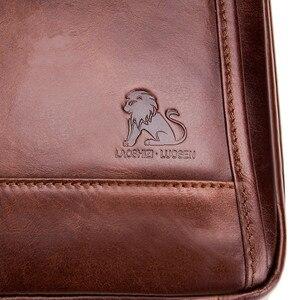 Image 5 - LAOSHIZI Brand Genuine Leather Top handle Handbag Men Chest Sling Pack Mens Shoulder Crossbody Bag Male Cowhide Messenger Bags