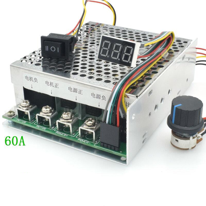 12V 24V <font><b>36V</b></font> 55V 100A 15KHZ DC <font><b>Brush</b></font> <font><b>Motor</b></font> Two-way Speed Controller with Switch Potentiometer 270 Degrees, 0-100% Adjustable image