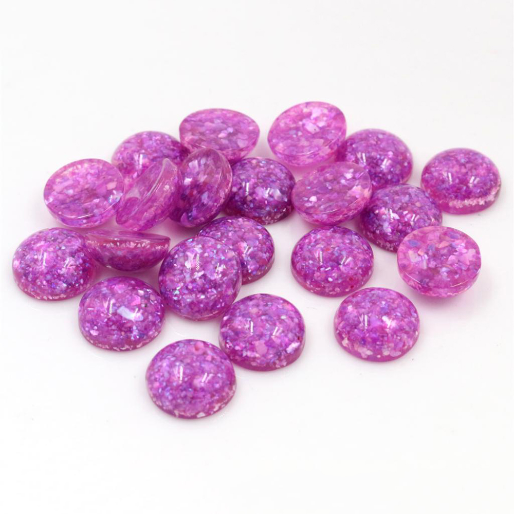 New Style 40pcs 12mm Purple Colors Built-in Real Shells Style Flat Back Resin Cabochons Fit 12mm Cameo Base Cabochons-W3-06
