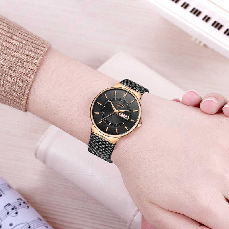 נשים שעונים ליגע למעלה מותג יוקרה עמיד למים Ultra דק תאריך שעון פלדת רצועת שעון קוורץ מזדמן נשים ספורט שעון יד + תיבה