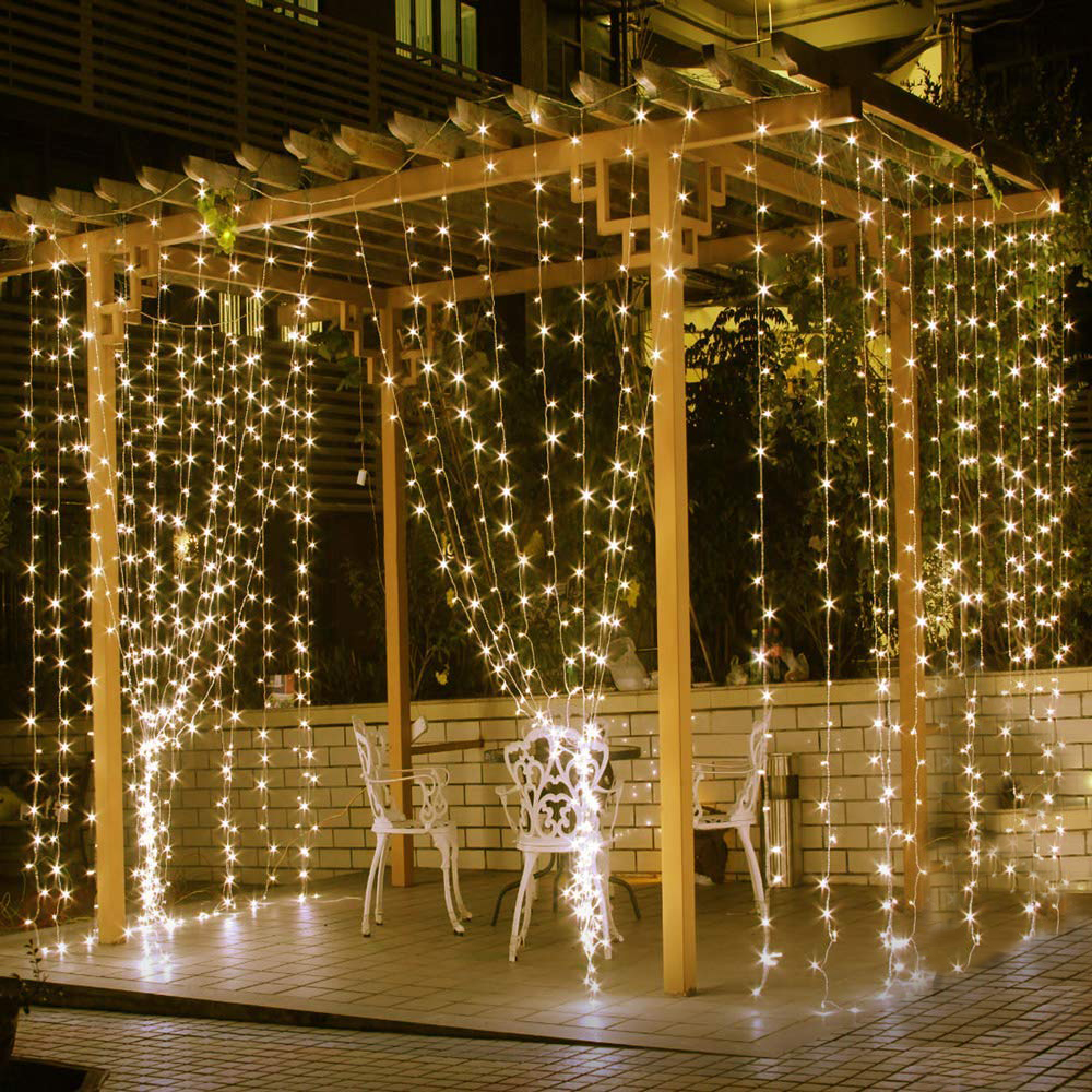 Christmas Garland Icicle Lights 6M X 3M 600 Bulbs LED Curtain String Decorations Wedding Fairy Lights Holiday Party Garden Decor