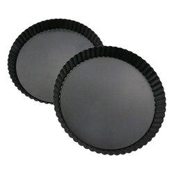 2 paket 9 inç yapışmaz çıkarılabilir gevşek alt kiş Tart Pan, Tart Tart kalıbı, yuvarlak Tart kiş Pan çıkarılabilir taban ile