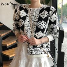 Neploeシックなヴィンテージ花刺繍セーター女性の韓国のoシングルブレストコート秋冬ニットファムカーディガン