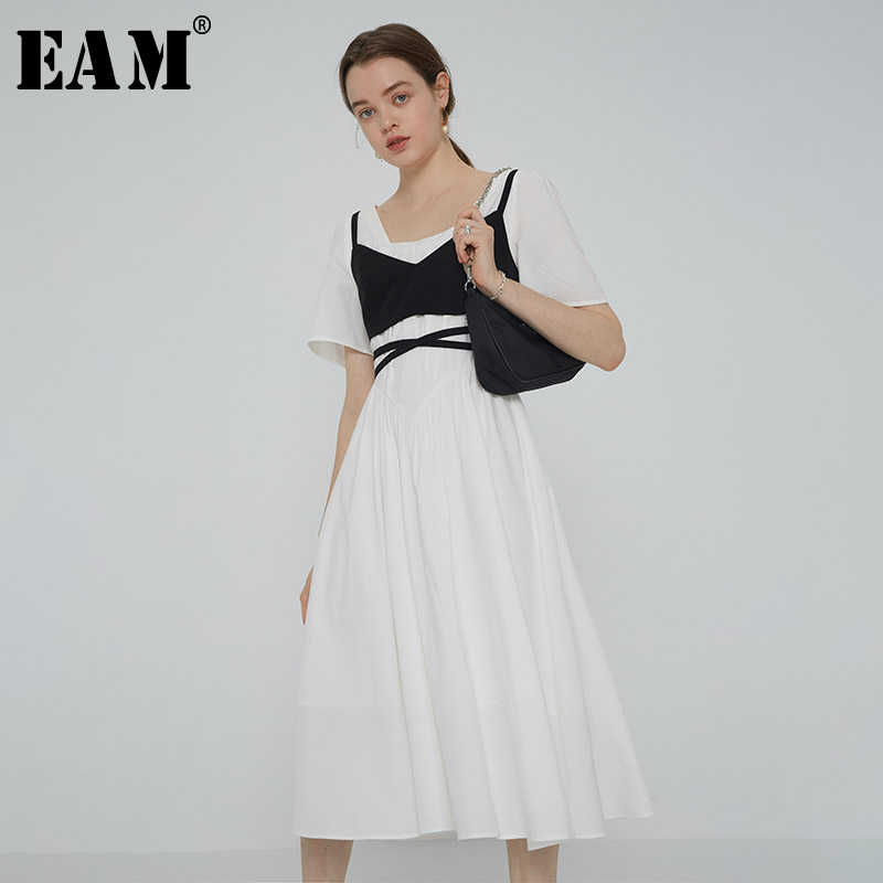 Joint Bandage Short-Sleeve Dress New Fit-Fashion Spring Summer White EAM Women Round-Neck