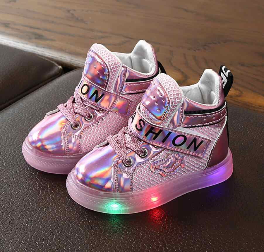 LED Kids Boy Girl Sports Lights Running Casual Mesh Breathable Shoes Sneaker