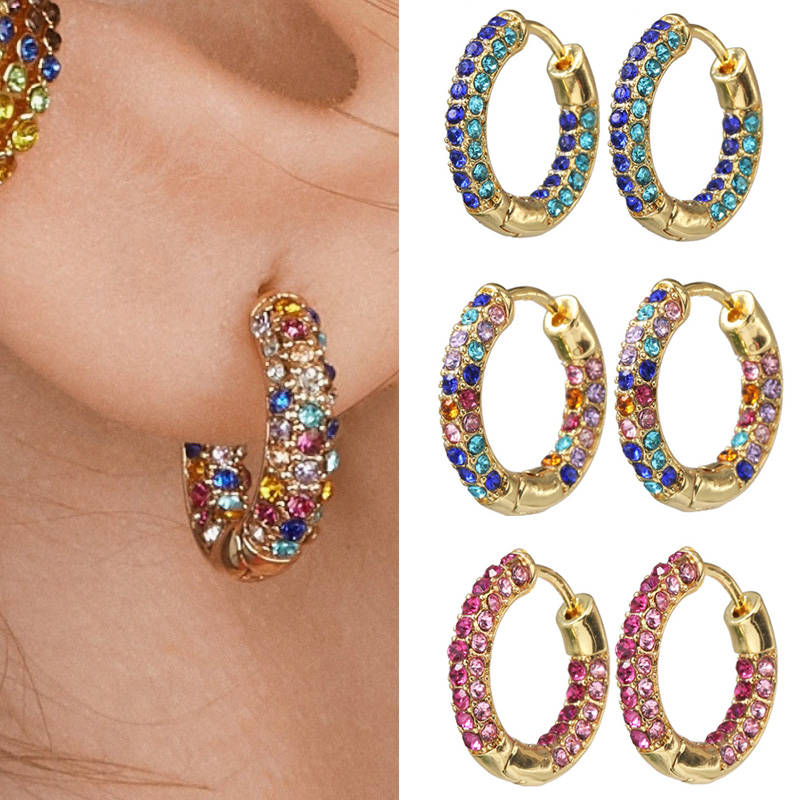 2020 New CZ Zircon Huggies Hoops Earrings for Women Simple Round Circle Rainbow Crystal Small Hoops Female Copper Jewelry 20mm