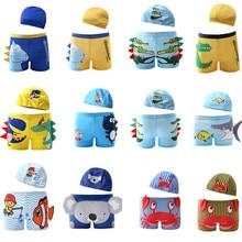 NEW Boys Swimming Trunks 2-10 Years Children's Swimwear Kids Swimsuit Dinosaur Boys Swimwear Trunks with Hat