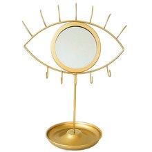 Creativa de los ojos/de forma de conejo de espejo de maquillaje nórdicos espejo bandeja Pendiente de oro espejo decorativo con joyas gancho de almacenamiento