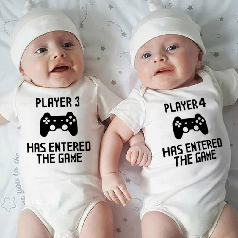Player 3 And 4 Has Entered The Game Funny Newborn Twin Baby Cotton Romper Short Sleeved Infant Siblings Family Matching Clothes