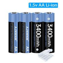 Bateria recarregável 3400mwh 1.5v aa da bateria do li-íon do lítio do polímero 1.5v aa para a bateria recarregável aa do termômetro 1.5v