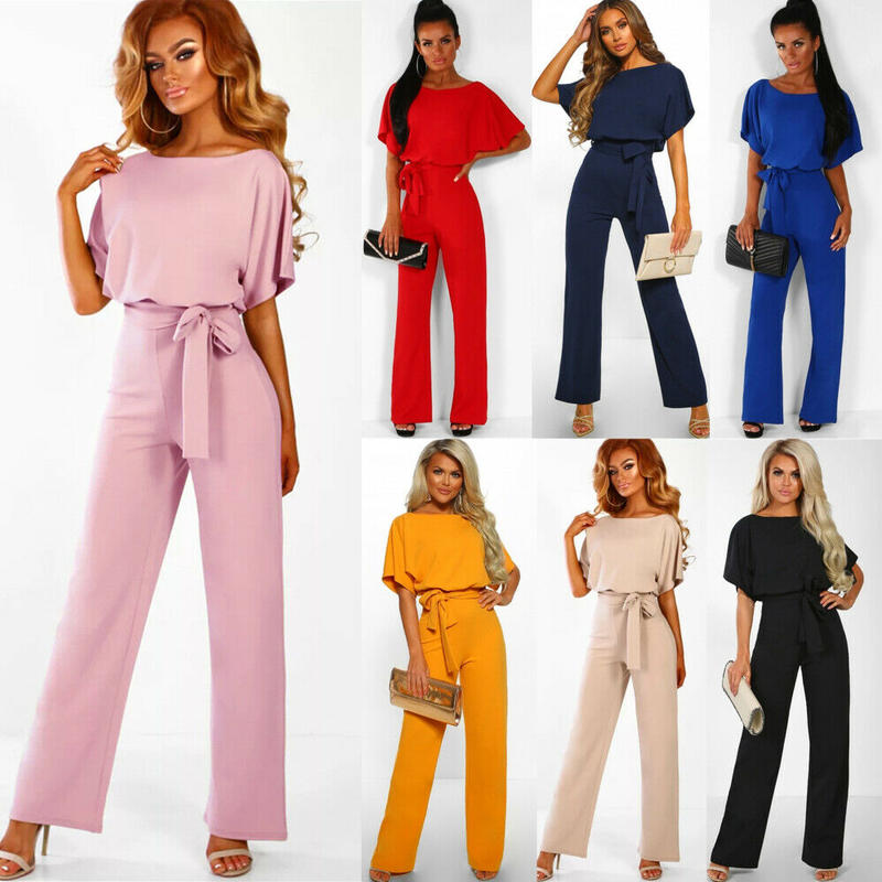 Women's Summer Casual Short Sleeve Solid Color Playsuit Round Neck High Waist Elegant Jumpsuit Romper