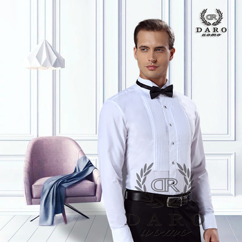 цена DARO shirt  white tuxedo shirt party wedding shirt 2020 new fitting shirt 883 онлайн в 2017 году