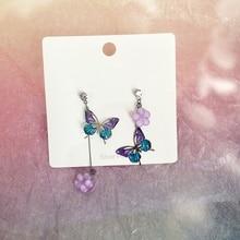 MENGJIQIAO Elegant Asymmetric Hollow Acrylic Butterfly Drop Earrings For Women Girls Trendy Accessories Pendientes Jewelry