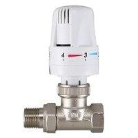 1/2Inch Brass Thermostatic Radiator Valve Straight Type DN15 Automatic Temperature Control Valve Floor Heating