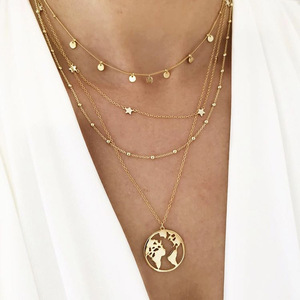 Bohemian Necklace World Map Multi Layers Round Hollow Fashion Chain Necklaces Star Gold Color Beads Chain Pendant Link Chain