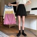 Плиссированная короткая юбка, Женская юбка, Новинка лета 2020, Стильная универсальная облегающая элегантная юбка с высокой талией и оборками,...