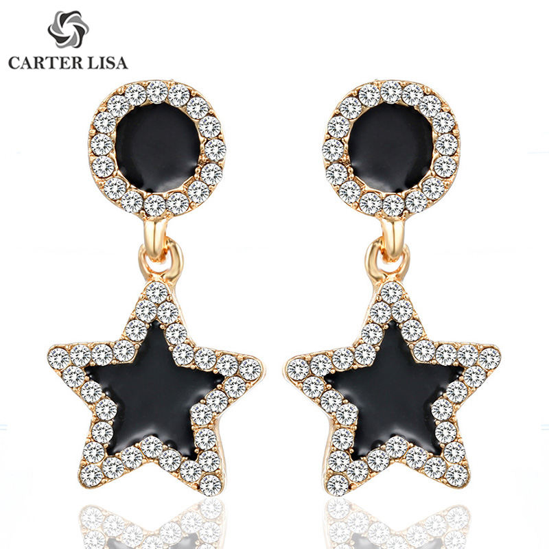 CARTER LISA Korean Popular Crystal Stud Earrings Black Pentagram Geometric For Women Statement Earings Fashion Wedding Jewelry