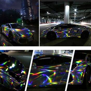 1.52*18M Holographic Chrome Rainbow Car Stickers Laser Plating Car Body Wrap Vinyl Film Automobiles Sticker Films Car Styling