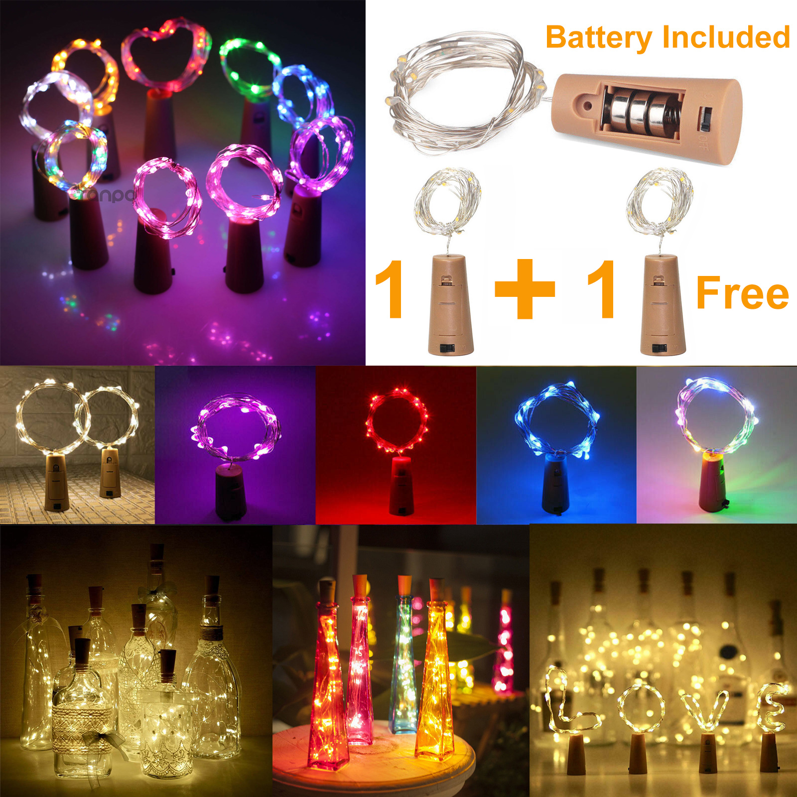 9 Colors LED Cork String Light 1M 2M 3M 10/20/30LEDs Fairy Lights Battery Powered Copper Wire For Xmas Wine Bottle Decor Lamp