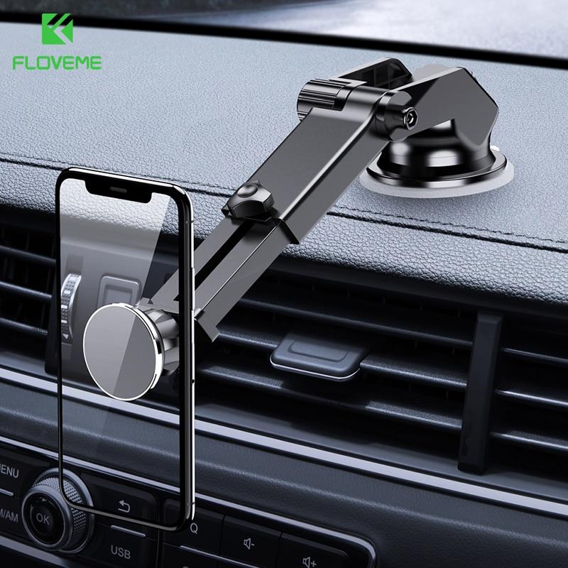 FLOVEME Soporte magnético de teléfono para el coche para el salpicadero del coche montaje parabrisas 360 ° Soporte para teléfono Soporte Movil coche