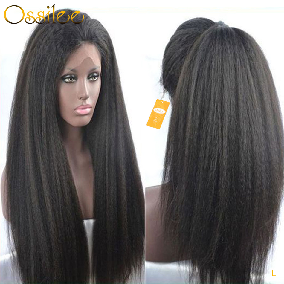 360 Lace Frontal Wig Kinky Straight Wig Lace Frontal Human Hair Wigs Yaki Human Hair Wig 150 Density Ossilee Remy Middle Ratio