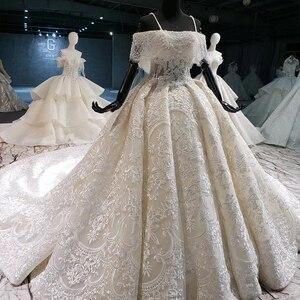 Image 2 - HTL916 koronkowe suknie ślubne z welon ślubny specjalna łódź z dekoltem, bez ramienia suknie ślubne balowe nowy vestido de noiva plus rozmiar