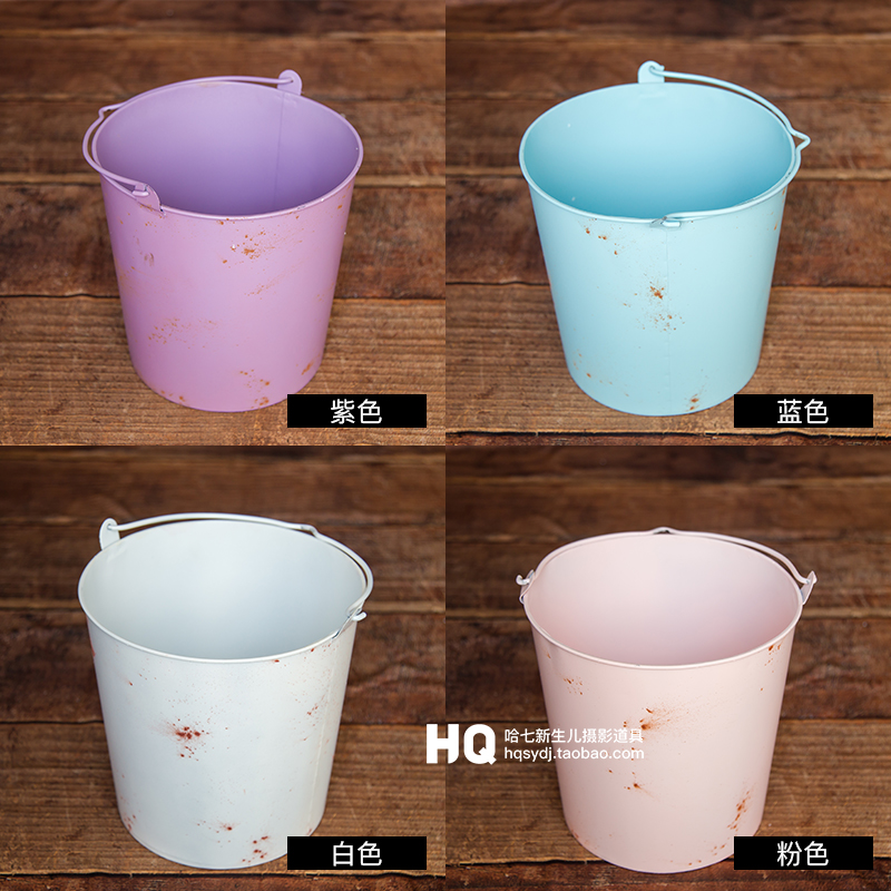 Newborn Photography Props Bucket Baby Photography Basket Infant Iron Photo Studio  Accessories  Chlidren Basket