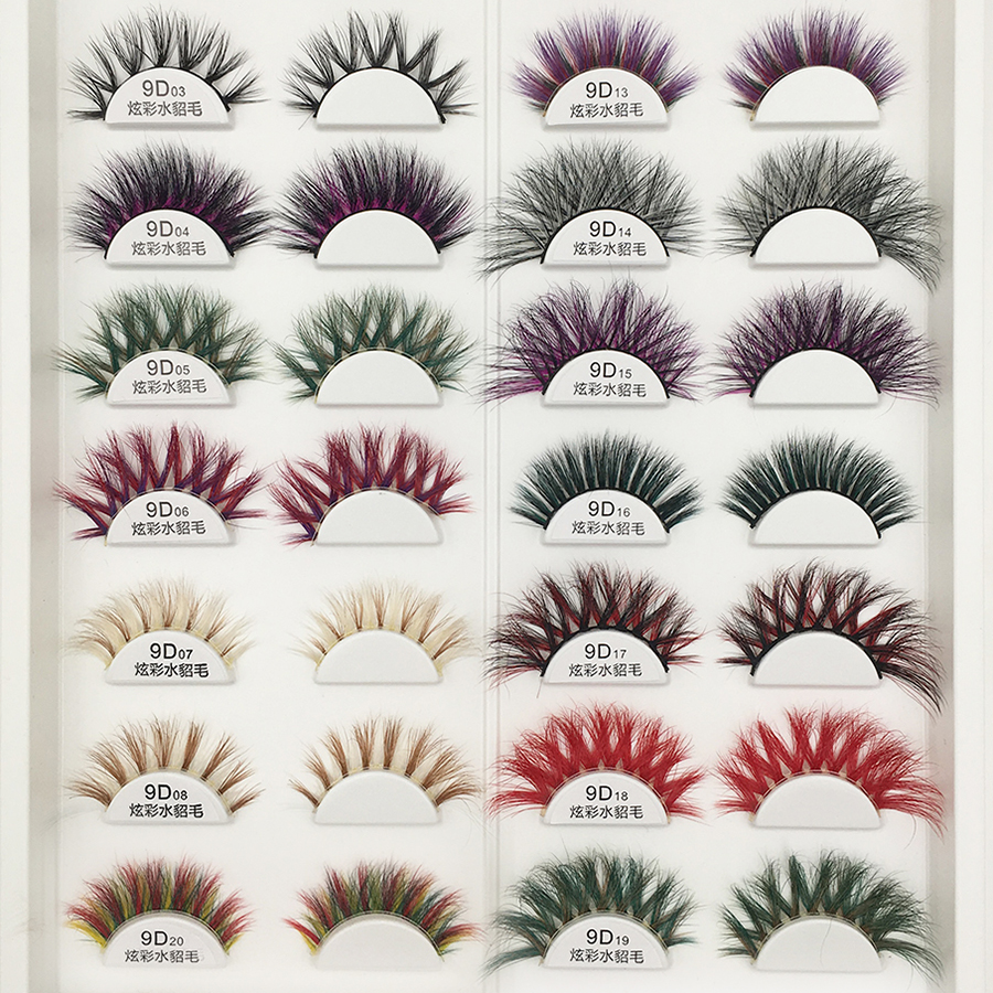 10 Pairs 9D Colorful Mink Eyelashes 100 Styles Wholesale Lashes Handmade Long Soft False Eyelashes Makeup 100% Mink Lashes Bulk